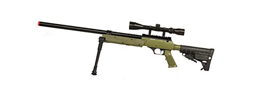 Well  1 Well SPEC-OPS MB13A APS SR-2 Bolt Action Sniper Rifle Airsoft Gun (OD/Scope & Bipod Package)