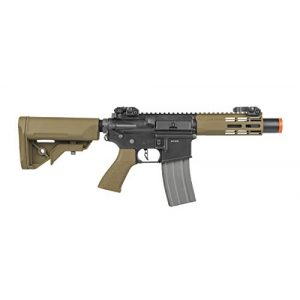 Elite Force Airsoft Rifle 1 Elite Force M4 AEG Automatic 6mm BB Rifle Airsoft Gun, CQC, Black/Tan (2279527)