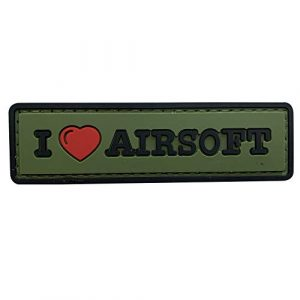 uuKen  1 uuKen Sweety I Love Airsoft Tab PVC Rubber Tactical Morale Patch 3.3x1 inch with Hook Fastener Backing for Operator Caps Military Uniform (Green)
