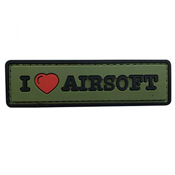 uuKen Airsoft Morale Patch 1 uuKen Sweety I Love Airsoft Tab PVC Rubber Tactical Morale Patch 3.3x1 inch with Hook Fastener Backing for Operator Caps Military Uniform (Green)