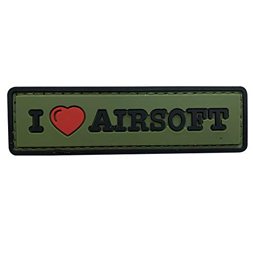 uuKen Airsoft Tactical Vest 1 uuKen Sweety I Love Airsoft Tab PVC Rubber Tactical Morale Patch 3.3x1 inch with Hook Fastener Backing for Operator Caps Military Uniform (Green)
