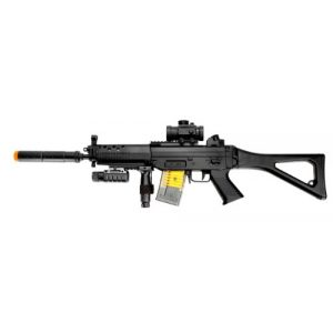 Velocity Airsoft Airsoft Rifle 1 double eagle m82p commando electric airsoft gun full auto fps-250, w/ flashlight, foregrip, red dot scope, silencer(Airsoft Gun)