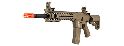 Lancer Tactical  3 Lancer Tactical GEN 2 M4 Custom Body AEG Metal Gear Electric Airsoft Rifle - TAN