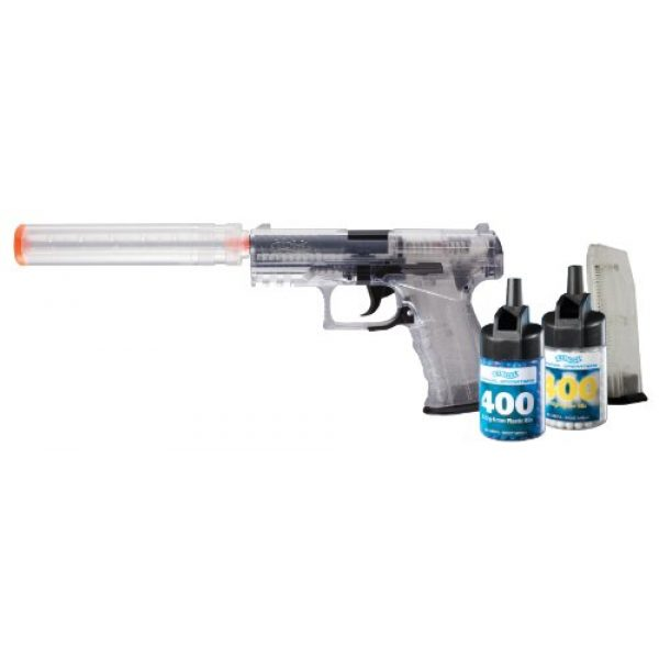 Elite Force Airsoft Pistol 1 Walther PPQ Spring 6mm Airsoft Pistol Kit with Accessories, Clear