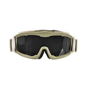 Lancer Tactical Airsoft Goggle 1 Lancer Tactical AERO 3mm Thick Dual Pane Lens Eye Protection Safety Goggle System ANSI Z87 1 Rated Industry Standard Panel Ventilated w/Anti-Scratch Shield Fully Adjustable (Tan/Clear)