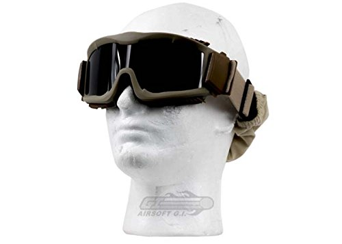 Lancer Tactical Airsoft Goggle 1 Lancer Tactical CA-223T Vented Safety Airsoft Goggles w/ Interchangeable Multi Lens Kit (Desert Tan)