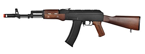 Well  1 Well AK-47 AEG Semi/Full Auto Electric Airsoft Rifle Gun High Capacity Magazine FPS 290 (Black/Wood)