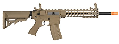 Lancer Tactical  2 Lancer Tactical GEN 2 M4 Custom Body AEG Metal Gear Electric Airsoft Rifle - TAN