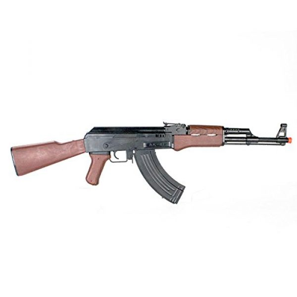 BBTac Airsoft Rifle 4 BBTac Airsoft Spring Rifle A&K Airsoft Gun Full Size Great for Starter Shoot 6mm BBS with Safe Mode, Wood Color