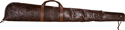 3D Belt Airsoft Gun Case 1 3D Belt Western Chocolate Floral & Basketweave Hand-Tooled Leather Rifle Case