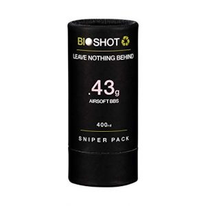 BioShot Airsoft BB 1 BioShot Biodegradable Airsoft BBS - .43g Super Slick Seamless Sniper Weight Competition Match Grade for All 6mm Airsoft Guns and Accessories (400 Round Sniper Pack, White)