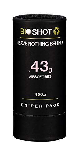 BioShot Airsoft BB 1 BioShot Biodegradable Airsoft BBS - .43g Super Slick Seamless Sniper Weight Competition Match Grade for All 6mm Airsoft Guns and Accessories (400 Round Sniper Pack
