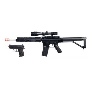 UKARMS Airsoft Rifle 1 UKARMS P1136 Marksman Sniper Spring Airsoft Rifle & Pistol Combo Gun Set FPS 260, Black