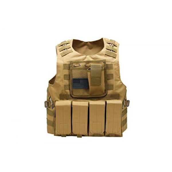 Redemption Tactical Airsoft Tactical Vest 1 Tactical Airsoft Paintball Vest, Free US Flag Patch, Mil Spec 1000D Nylon PALS Molle Modular w/ 4 Mag Pouches, Side Pouch, Chest Mag Pouch
