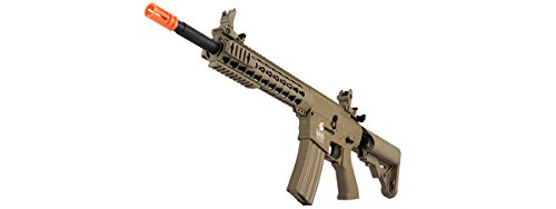 Lancer Tactical  5 Lancer Tactical GEN 2 M4 Custom Body AEG Metal Gear Electric Airsoft Rifle - TAN