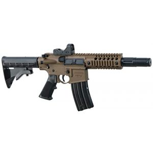 Bushmaster Air Rifle 1 Bushmaster BMPWX Full Auto MPW CO2-Powered BB Air Rifle With Dual Action Capability And Red Dot Sight, Black/FDE