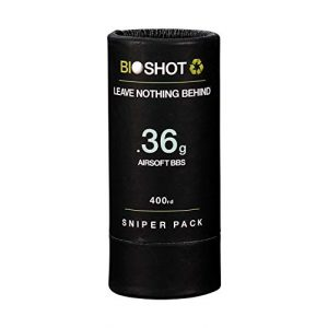 BioShot Airsoft BB 1 BioShot Biodegradable Airsoft BBS -.36g Super Slick Seamless Sniper Weight Competition Match Grade for All 6mm Airsoft Guns and Accessories (400 Round Sniper Pack, White)