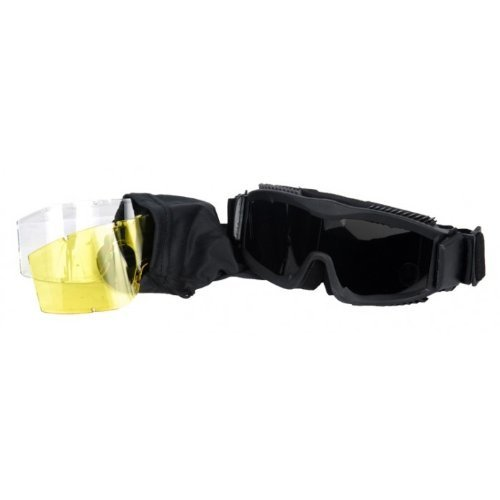 AKT Airsoft Goggle 3 Outdoor Tactical Vented Safety Airsoft Goggles CS Paintball Glasses Interchangeable 3 Lens Kit(Black)