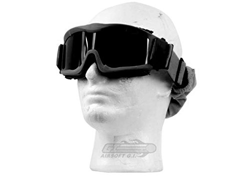 Lancer Tactical Airsoft Goggle 1 Lancer Tactical CA-223B Vented Safety Airsoft Goggles w/ Interchangeable Multi Lens Kit (Black)
