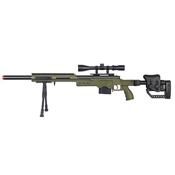 Well Airsoft Rifle 1 Well MB4410 Bolt Action Spring Sniper Airsoft Rifle w/Scope and Bipod (OD Green)