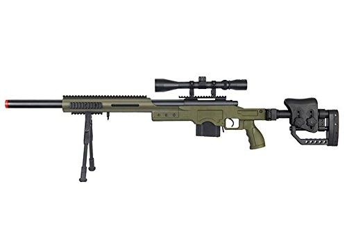 Well  1 Well MB4410 Bolt Action Spring Sniper Airsoft Rifle w/Scope and Bipod (OD Green)
