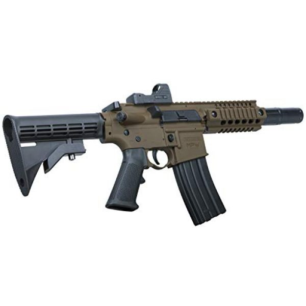 Bushmaster Air Rifle 2 Bushmaster BMPWX Full Auto MPW CO2-Powered BB Air Rifle With Dual Action Capability And Red Dot Sight, Black/FDE