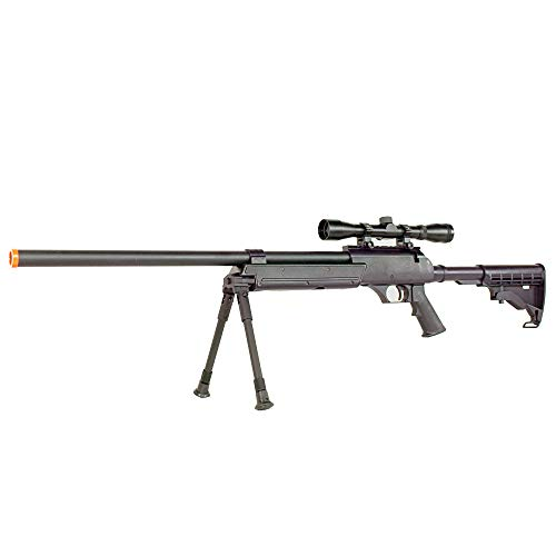 BBTac Airsoft Rifle 3 BBTac Powerful And Precision Spring Airsoft Sniper Rifle Gun, Heavy Weight with 3x Scope and Bipod