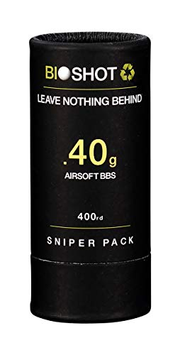 BioShot Airsoft BB 1 BioShot Biodegradable Airsoft BBS - .40g Super Slick Seamless Sniper Weight Competition Match Grade for All 6mm Airsoft Guns and Accessories (400 Round Sniper Pack, White)