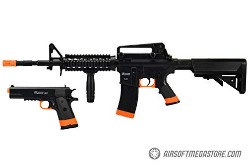 Sig Sauer Airsoft Rifle 1 Sig_Sauer Patrol Kit w/Spring Pistol & M4 AEG Airsoft Rifle [5000 BBS Included] (Black/Orange)