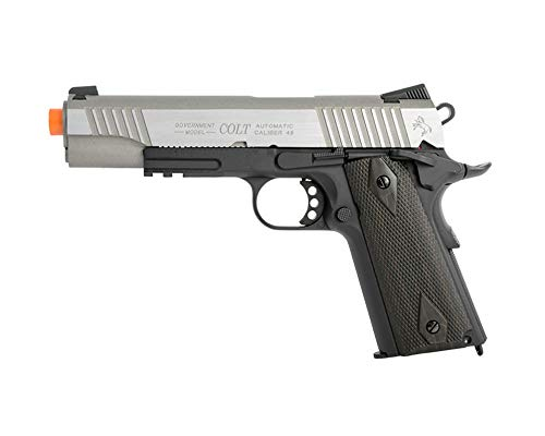 KWC Airsoft Pistol 1 Colt 1911 CO2 Full Metal Airsoft Pistol with Hop-Up, 360 FPS, Two-Tone