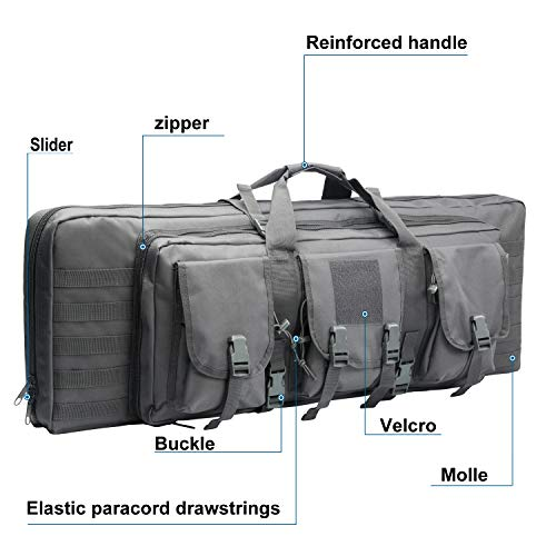 Warriors Product Rifle Case 4 Warriors Product 38 42 Inch Double Long Rifle Gun Case Bag Outdoor Tactical Carbine Cases Water Dust Resistant Fireproof for Hunting Shooting
