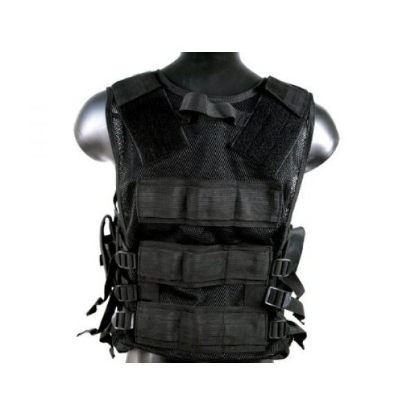 MetalTac Airsoft Tactical Vest 4 MetalTac Airsoft Cross Draw Tactical Vest with 9 Pockets and Pistol Holster