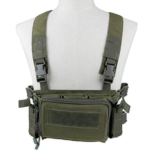 DETECH Airsoft Tactical Vest 2 DETECH Tactical Vest Airsoft Ammo Chest Rig 5.56 9mm Magazine Carrier with Molle Flatpack Backpack