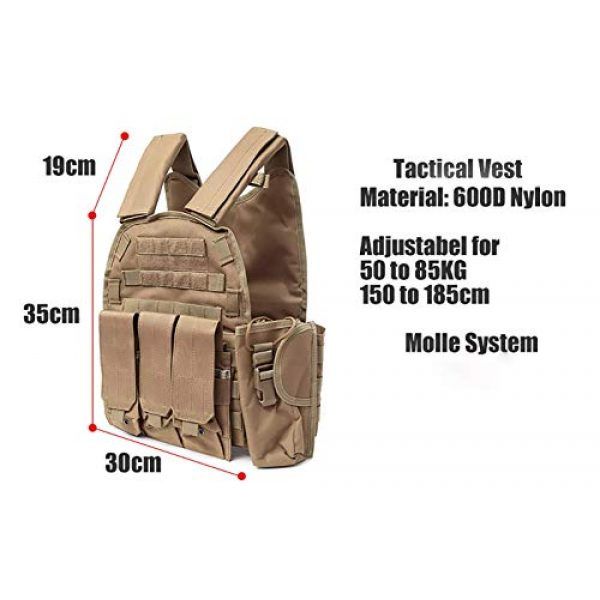 DMAIP Airsoft Tactical Vest 5 DMAIP Hunting Molle Tactical Vest Combat Security Training Tool Pouch Modoular Protective Durable Waistcoat for Outdoor Paintball CS Game Airsoft Climbing Hiking