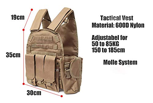 DMAIP  5 DMAIP Hunting Molle Tactical Vest Combat Security Training Tool Pouch Modoular Protective Durable Waistcoat for Outdoor Paintball CS Game Airsoft Climbing Hiking