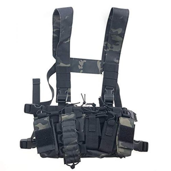 Redland Art Airsoft Tactical Vest 1 Redland Art Multicam Tactical Molle Vest Ammo Chest Rig Removable Hunting Airsoft Paintball Gear Vest with AK 47/74 Magazine Pouch Airsoft Tactical Vest (Color : BCP)