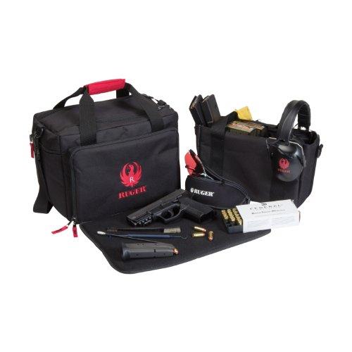 Allen Company Pistol Case 3 Allen Ruger Shooting Range Bag with Pistol Rug, MOLLE Loops & Ammo Carrier