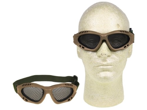 PForce Airsoft Goggle 4 Airsoft Adjustable Mesh Wire Goggles - Tan