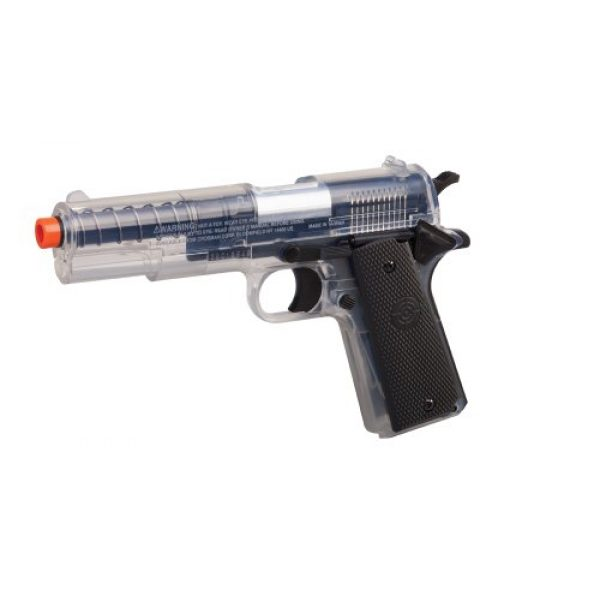 Game Face Airsoft Pistol 2 GameFace ASP311C Stinger P311C Spring-Powered Single-Shot Military-Style Airsoft Pistol, Clear/Black