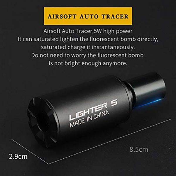 ActionUnion Airsoft Tool 2 ActionUnion Tactical Auto Airsoft Gun Pistol Mini Tracer Unit Lighter Light for 14mm CCW Thread Airsoft Guns M14 / 10MM CW Thread Pistol BBS Glow in Dark