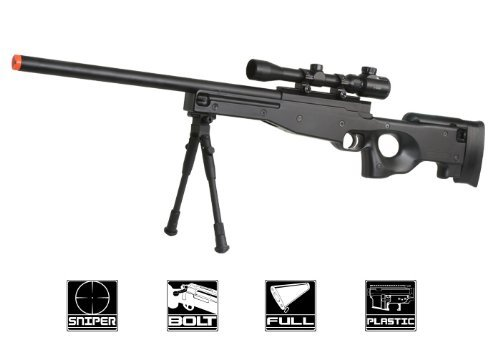 BBTac Airsoft Sniper Rifle Bolt Action Gun Full Metal Spring Loaded with Scope and Bipod High FPS Airsoft Rifles By BBTac