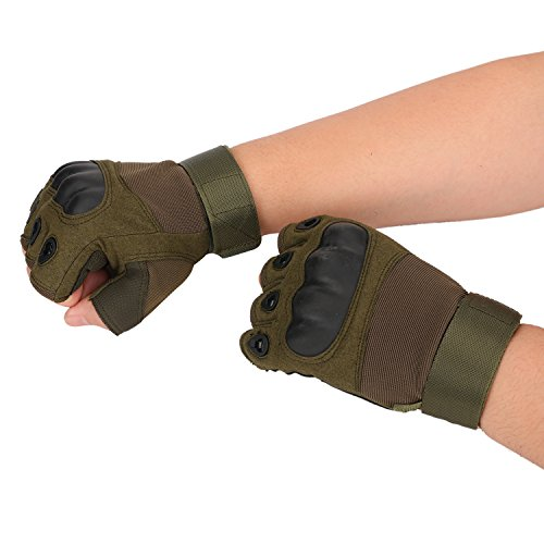 Huade Airsoft Glove 4 Tactical Military Rubber Hard Knuckle Outdoor Fingerless Gloves for Camping Cycling Motorcycle Hiking Powersports Airsoft Paintball
