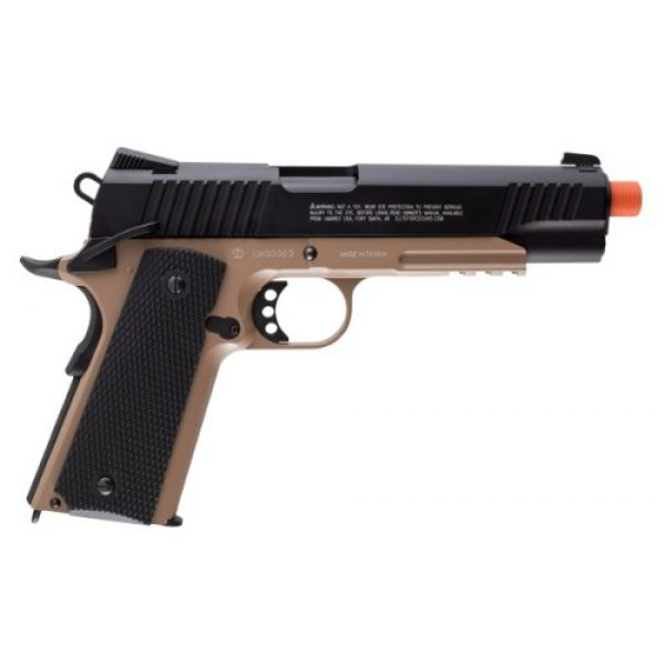 RWS Airsoft Pistol 3 Elite Force 1911 Blowback 6mm BB Pistol Airsoft Gun, 1911 TAC, FDE/Black