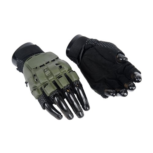 UKARMS Airsoft Glove 1 UKARMS Lancer Tactical Hard Back Half Finger Paintball/Airsoft Gloves - OD Green - Medium