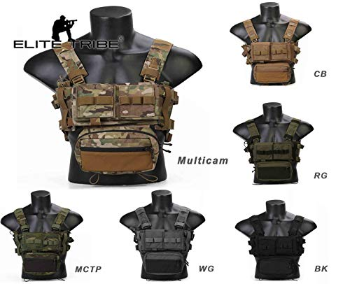 Elite Tribe Airsoft Tactical Vest 1 Elite Tribe MK3 Modular Lightweight Chest Rig Micro Fight Chissis 5.56 Mag Pouch