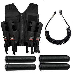 Maddog Airsoft Tactical Vest 1 Maddog Lightweight Tactical Paintball Sport Vest | Holds 4 Pods & Tank Up to 90ci