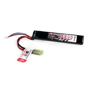Venom Power Airsoft Battery 1 Venom 30C 2S 1200mAh 7.4v LiPo Stick Battery for Airsoft Tamiya - AK Type