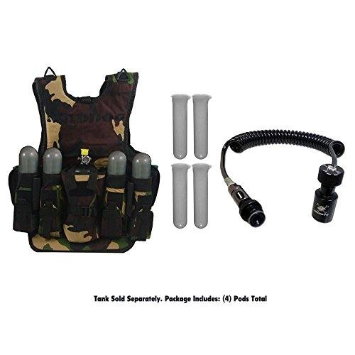 Maddog Airsoft Tactical Vest 1 MAddog Tactical Camo Vest w/Pods & Standard Remote Coil Paintball Package