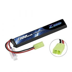 Zeee Airsoft Battery 1 Zeee 7.4V 25C 1300mAh Airsoft Lipo Battery 2S Stick Battery with Mini Tamiya Connector for Airsoft Guns Rifle