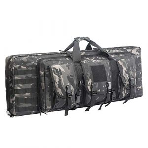 Fox Tactical Airsoft Gun Case 1 Fox Tactical 38 42 Inch Double Long Rifle Gun Case Bag Outdoor Tactical Carbine Cases Water Dust Resistant Fireproof for Hunting Shooting (Black Multicam, 42in)